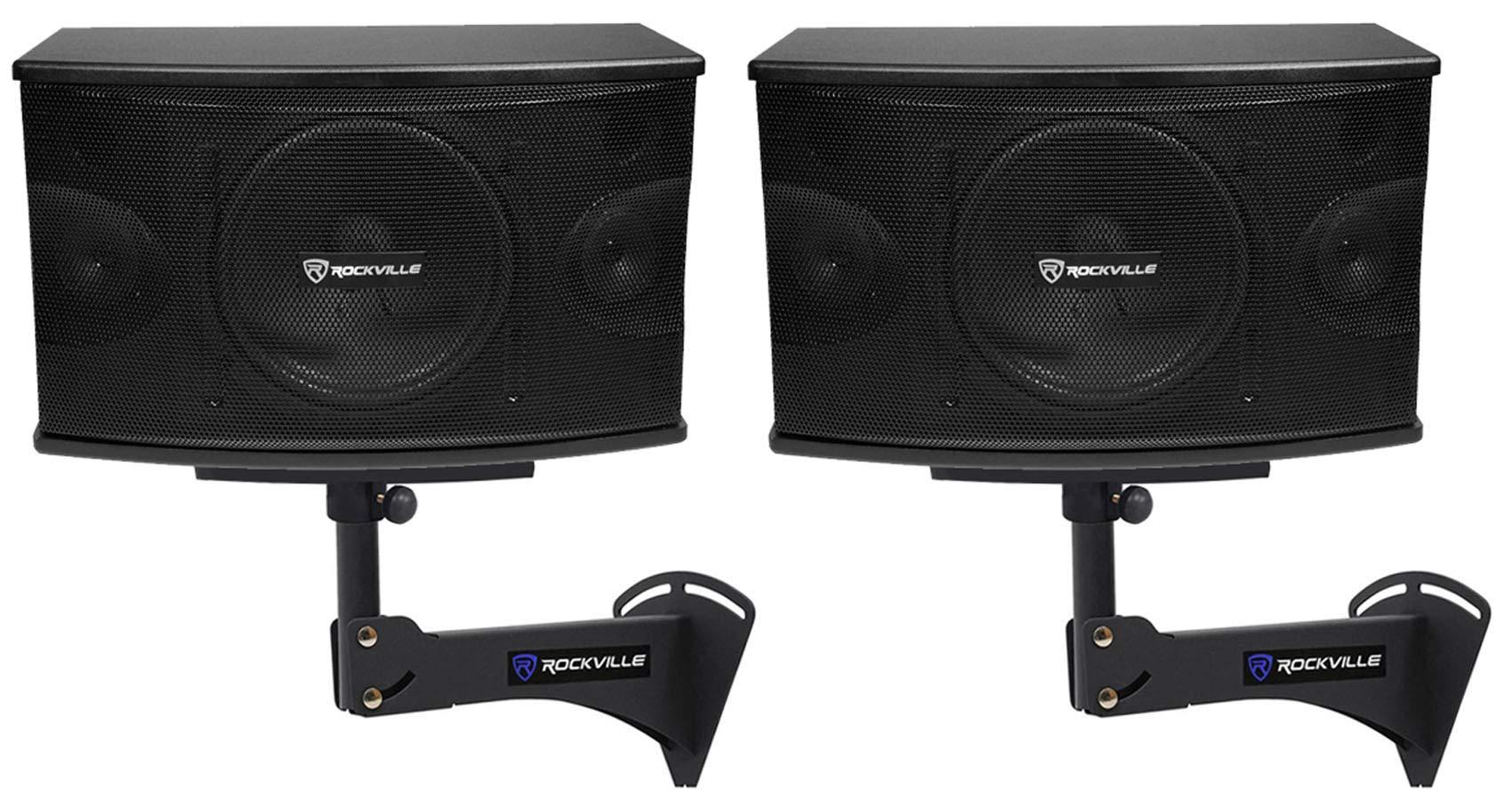 2) Rockville KPS10 10'' 3-Way 1200w Karaoke/Pro Speakers+Adjustable Wall Brackets