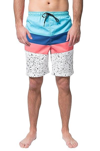 099889a9e0 Brooklyn Surf Men's Swim Trunks Volley Board Shorts Quick Dry Stretch,  Chevron Paint Splatter,