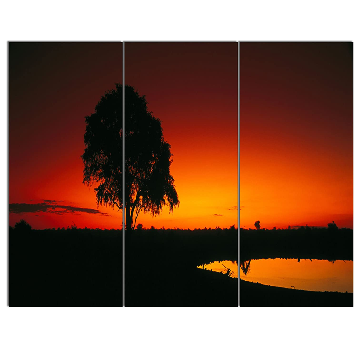 Extra Large African Landscape Canvas Art 83x32-7 Equal Panels Design Art PT12966-83-32-7P Sunset View in Tanzania