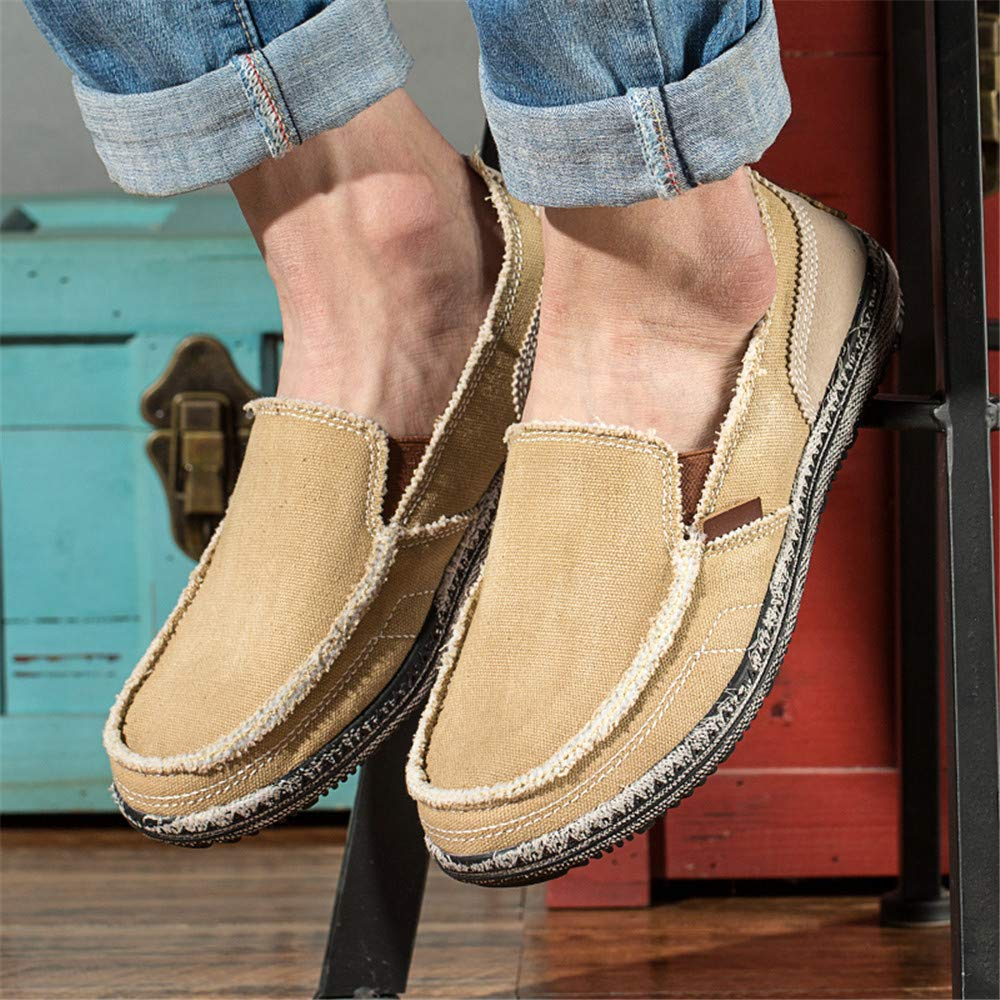 BEFAiR Mens Canvas Shoes Vintage Breathable Slip on Loafers Outdoor Walking