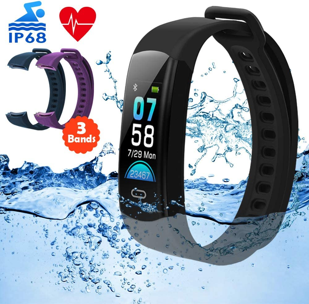 DETUOSI Fitness Tracker HR IP68 Waterproof Activity Tracker with Heart Rate Monitor Color Screen Smart Watch with Sleep Monitor Calorie Counter Step Counter Pedometer for Women Men Kids