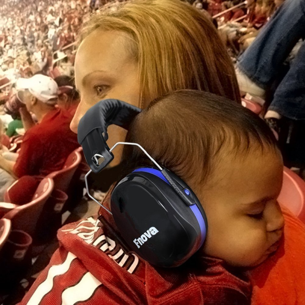 Shooting Hearing Protector Double Layers Noise Dampening+ Folding-Padded Headband Ear Defenders Fnova 34dB Highest NRR Safety Ear Muffs Super Soft Foam Red Fits Adults to Kids