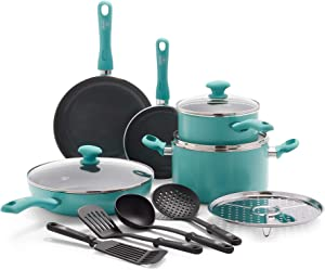 GreenLife Soft Grip Diamond Healthy Ceramic Nonstick, Cookware Pots and Pans Set, 13 Piece, Turquoise