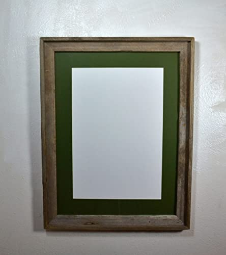 Amazon.com: 13x19 Green Mat in Rustic Reclaimed Wood Poster Frame ...