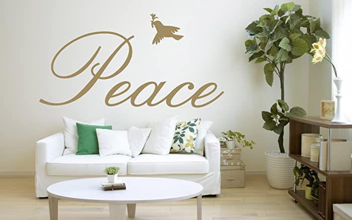 Peace Quote, Dove, Vinyl Wall Art Sticker, Mural, Decal. Home,