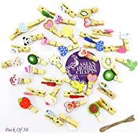 Asian Hobby Crafts Wooden Photo/Paper Clips : Pack of 50 Clips (Multi Design)