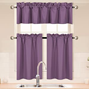Home Collection 3 Pieces Solid Purple Kitchen Curtain Set Tier and Valence with Rod Pocket Microfiber 100% Sunlight Blackout Drapes Window Treatment New