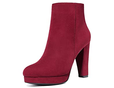 Women's Faux Sued Ankle BootsSide Zipper Warm Linning High Heel Ankle Booties Size 6-10B