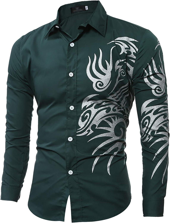 Derrick Aled(k) zhuke OtoñO Invierno Camisas para Hombre Camisa con Estampado De DragóN Manga Larga Cuello De Solapa Top Informal