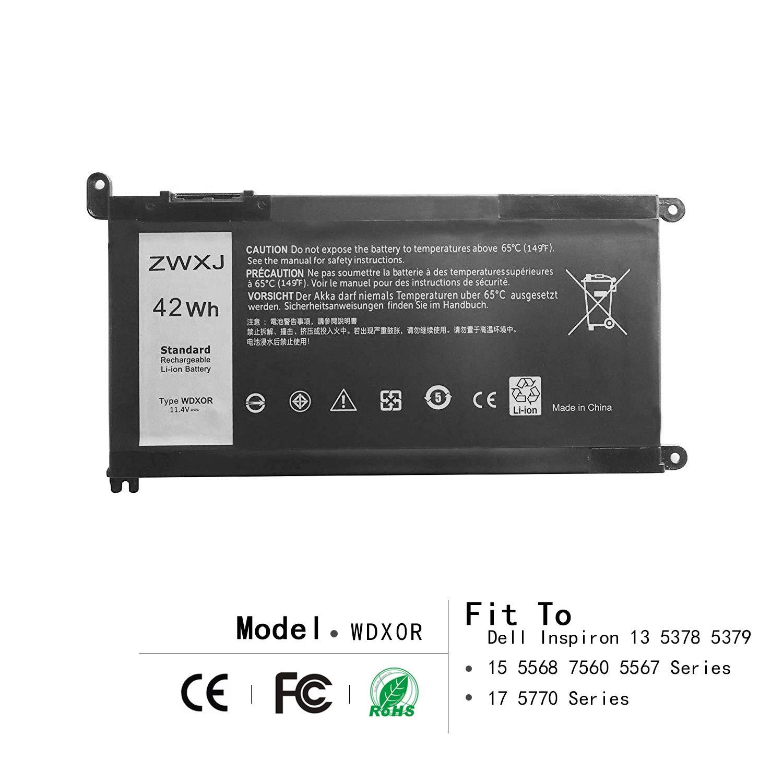 ZWXJ Laptop Battery Type WDX0R(11.4V 42WH) for Dell Inspiron 13 5368 5378 7368 7378 Inspiron 14 7460 7472 Inspiron 15 5565 5567 5568 5578 7560 7570 7579 7569 Inspiron 17 5765 5767 y3f7y 3crh3 WDXOR