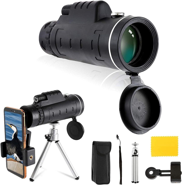 ZUOAO BAK4 HD Optics Prism Telescopio monocular de Doble Enfoque 40x60, Visor con Visor diurno y de Baja visión Nocturna con Soporte para Smartphone Trípode Ajustable