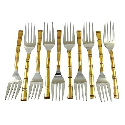 Accesorios de cocina de cobre tradicional indio de la porción Tenedor Set de cubiertos de 10