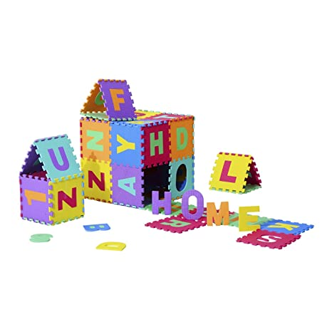 Homcom Tappeto Da Gioco 36 Pezzi Puzzle In Eva Con Numeri E Lettere