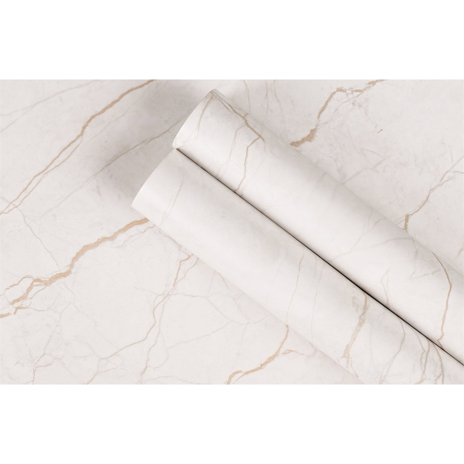 Marble Contact Paper 11.7'' x 78.7'', 2-Roll Pack - Peel and Stick Self Adhesive Contact Paper for Kitchen Countertops. Decorative Marble Paper for Home and Office. Matte Effect, Removable, Waterproof