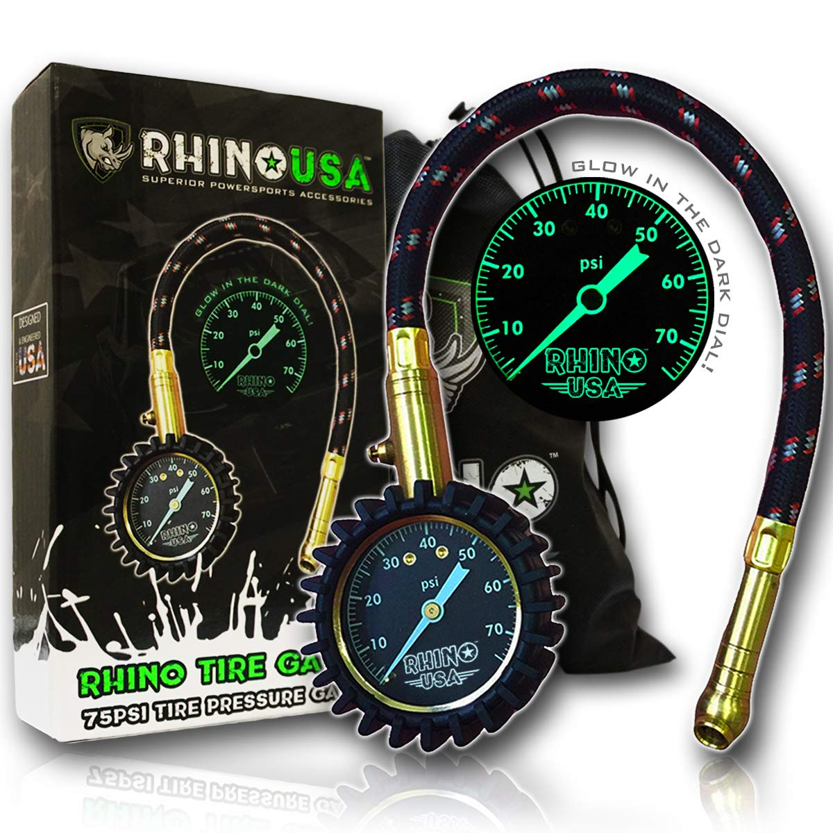 Rhino USA Heavy Duty Tire Pressure Gauge (0-75 PSI) - Certified ANSI B40.1 Accurate, Large 2'' Easy Read Glow Dial, Premium Braided Hose, Solid Brass Hardware, Best for Any Car, Truck, Motorcycle, RV