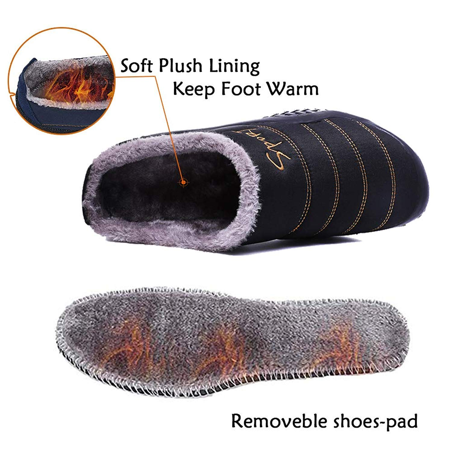 Womens Mens Slippers House Winter Slip on Shoes Warm Fur Lined Snow Plush Waterproof Indoor//Outdoor