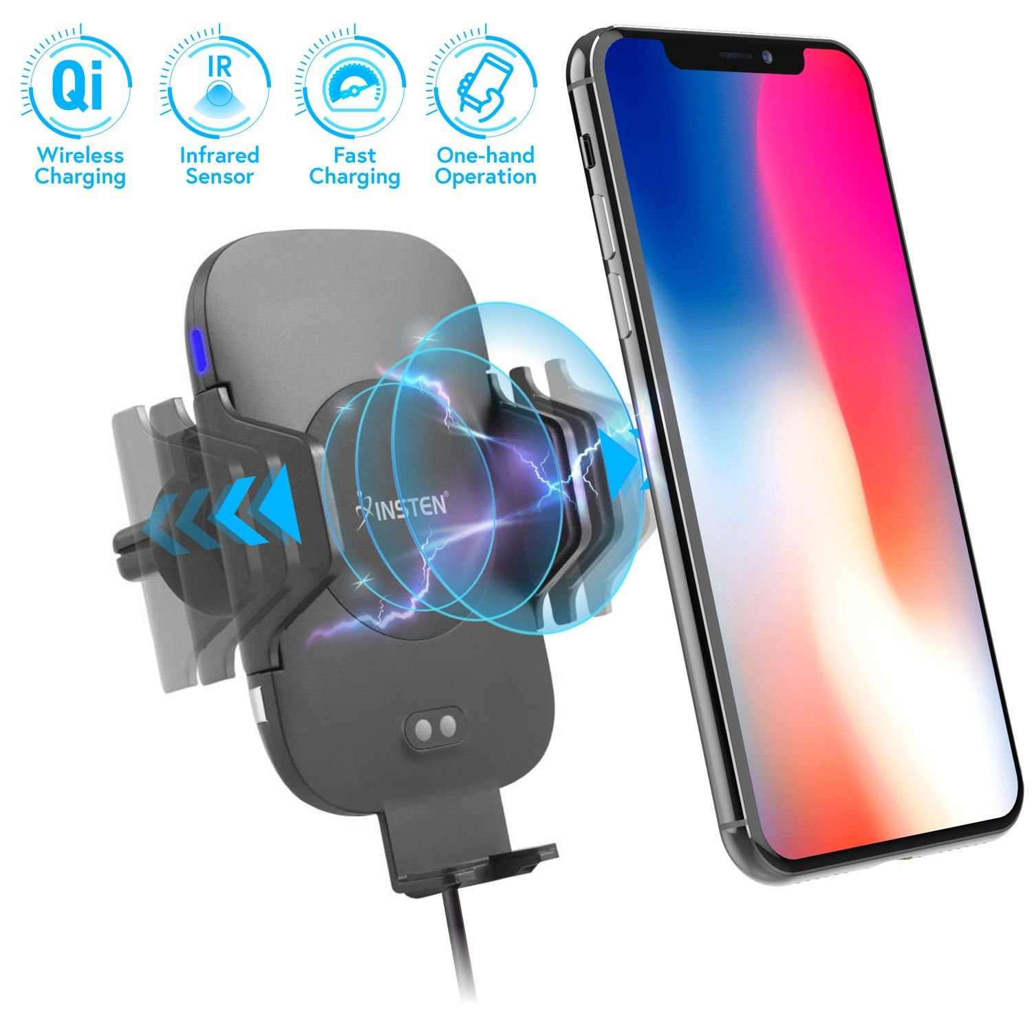 Quick Charge 3.0 Car Charger, Insten 18W Quick Charge 3.0 USB Car Charger Adapter for Samsung Galaxy S9/S9+/S8+/Note 8/Note 9, LG G5/G6/V20/V30, HTC U11 Plus, HTC 10 and Qi Enabled Smartphones eForCity
