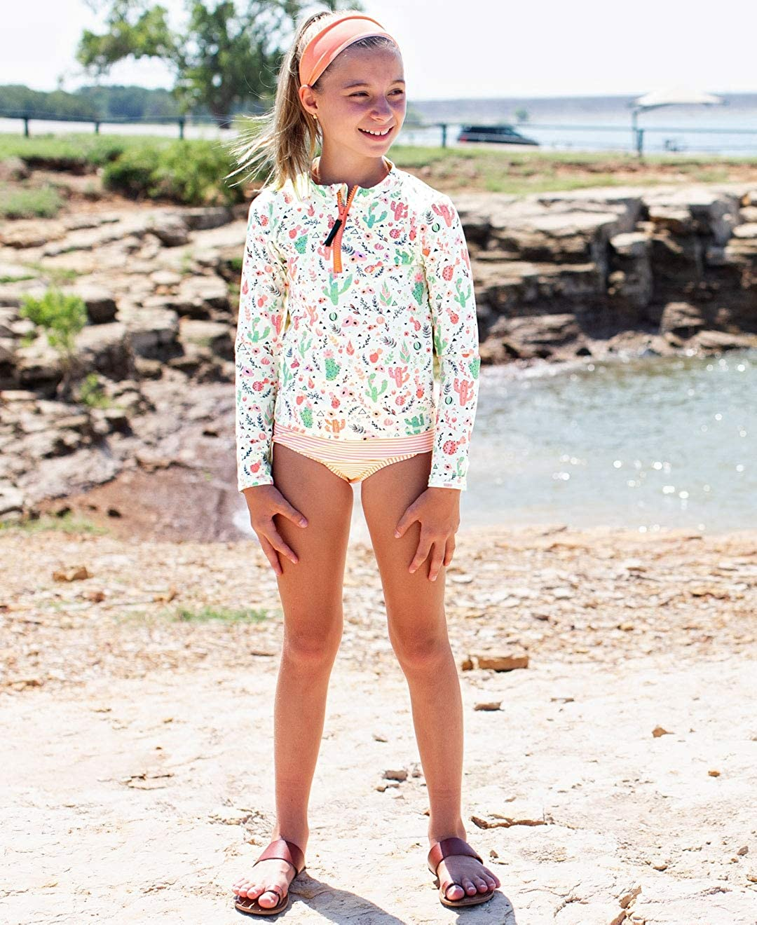 RuffleButts Girls Desert Blossoms Long Sleeve Zipper Rash Guard Bikini 8