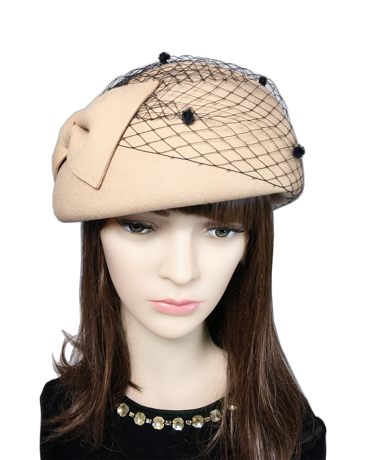 YSJOY Womens Retro Bowknot Dot Veil Mesh 100% Wool Fascinator British Style Derby Hat Wedding Tea Party Hair Accessory Beret Caps Light Tan by YSJOY Accessory