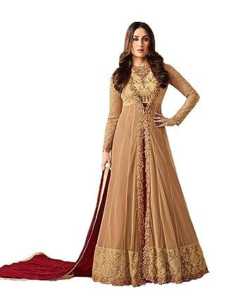 9cd13a3c2 Amazon.com: New Indian/Pakistani Designer Georgette Party Wear Anarkali Suit  Anarkali Gown Karina_2 (Light Brown, Unstitch): Clothing