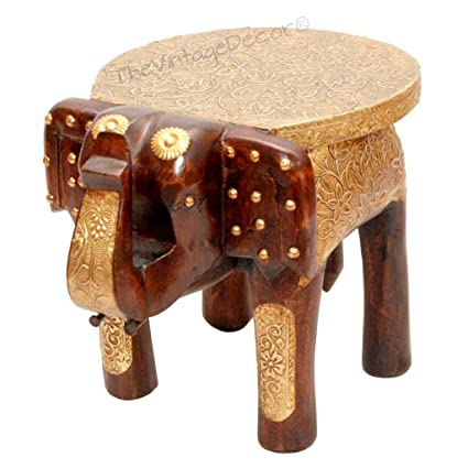 Excellent Vintage Clock Handcrafted Wooden Elephant Table Stool With Brass Inlay 8 Inch Brown Forskolin Free Trial Chair Design Images Forskolin Free Trialorg