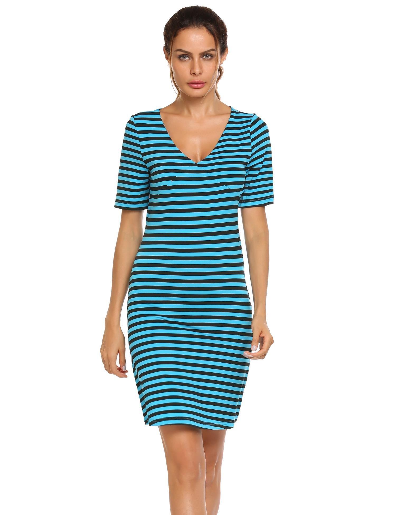ACEVOG Damen Sommer kleid Casual V-Ausschnitt Kurzarm Streifen Shirt Jerseykleid Minikleid