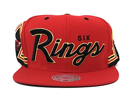 Image Unavailable. Image not available for. Color  Mitchell   Ness Men s 6  Rings Gold Snapback Red NBA Chicago Bulls Cap s ... cdd1a0d00f52