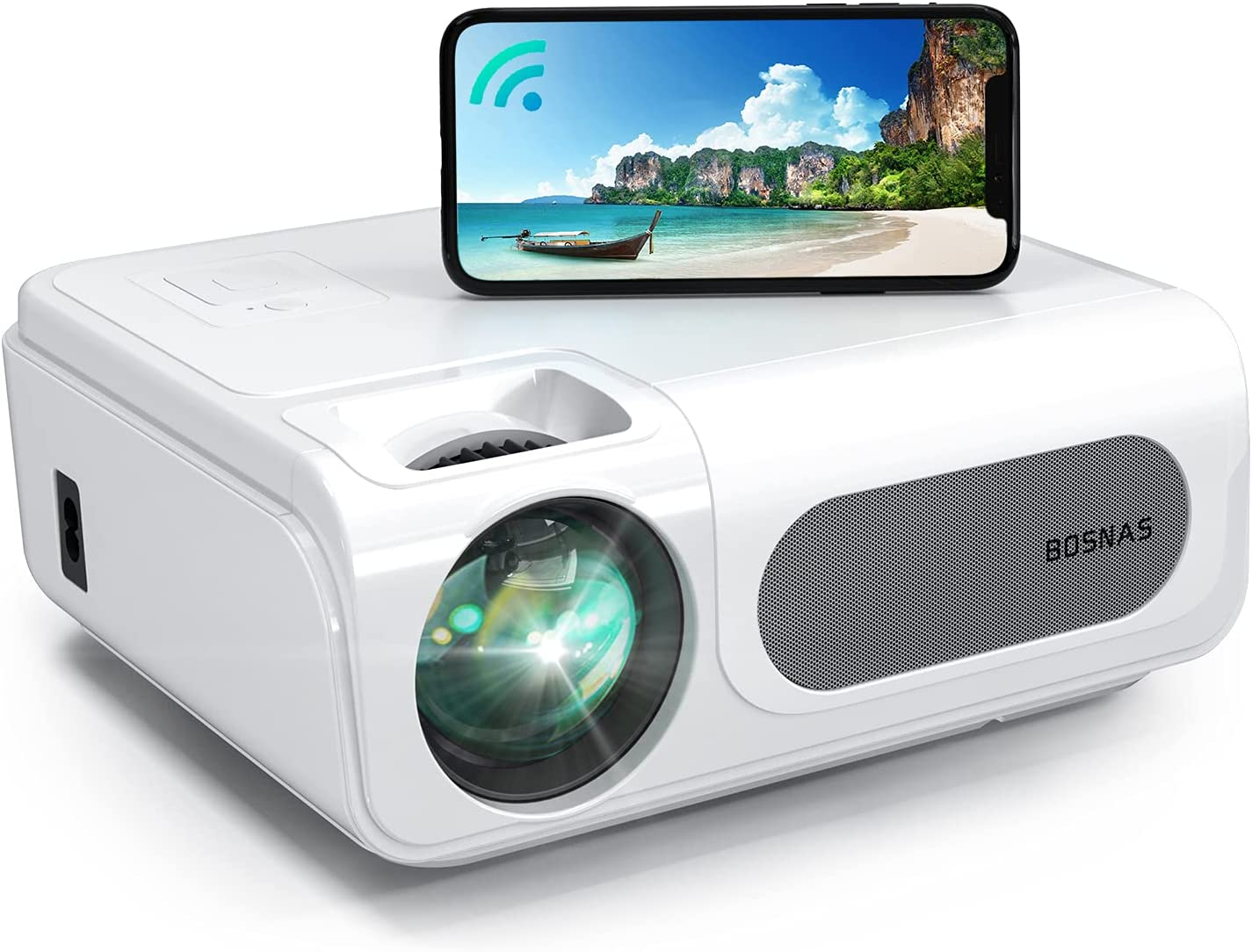 Projector, BOSNAS Wireless WiFi Bluetooth 8500L Home Video Projectors, 1920×1080P, Support 300