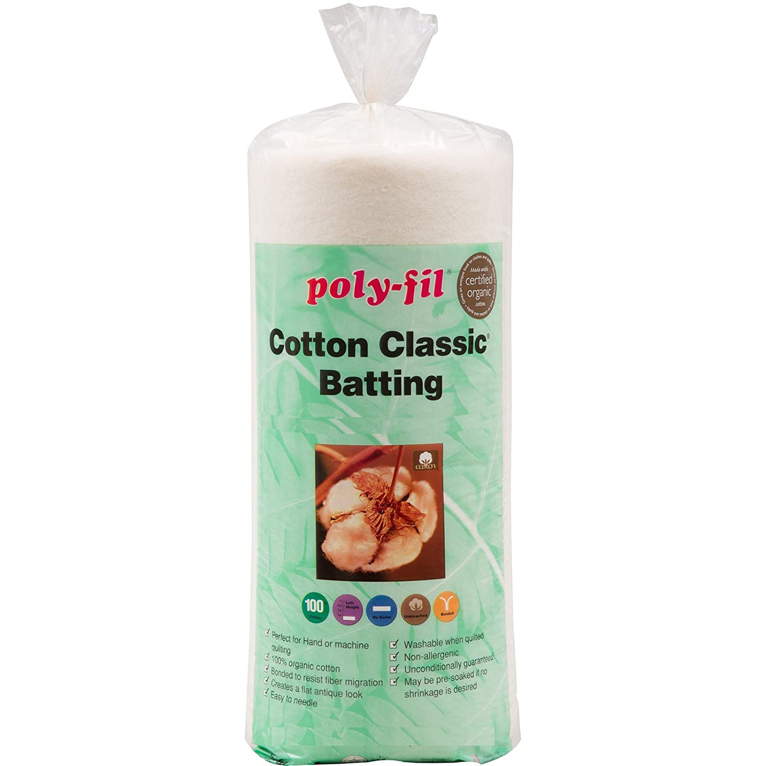 Fairfield Organic Cotton Classic Batting, 45 by 60 45 by 60 Fairfield Processing C45