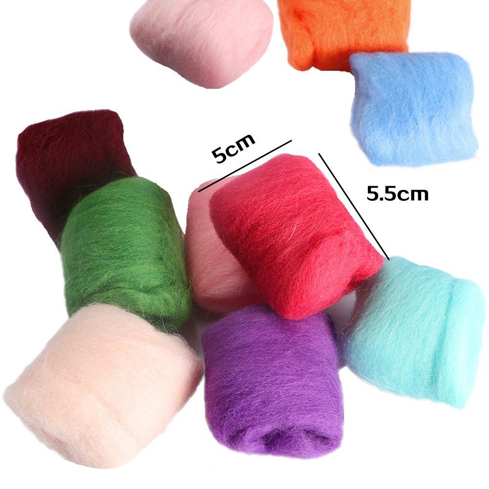 CCMART Starter Kit di feltro ad ago Set con 36 colori Feltro di lana Forniture Fibra di lana Filato per la filatura a mano Progetti artigianali fai da te Buon regalo di Natale