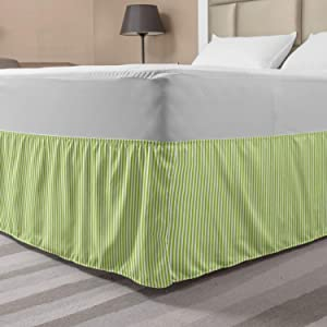 Ambesonne Striped Bed Skirt, Monochrome Vertical Lines Pattern Sumer Vibes with Retro Influences, Elastic Bedskirt Dust Ruffle Wrap Around for Bedding Decor, Queen, Apple Green