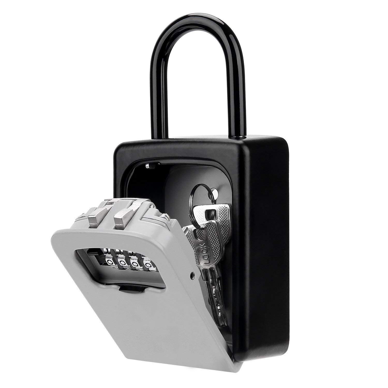 KIPRUN Key Storage Lock Box, 4-Digit Combination Lock Box, Wall Mounted Lock Box, Resettable Code (Belt Hook)