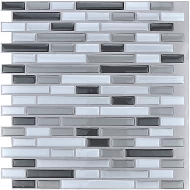 Art3d 12  x 12  Peel and Stick Tile Kitchen Backsplash Sticker Gray Brick (6 Tiles)