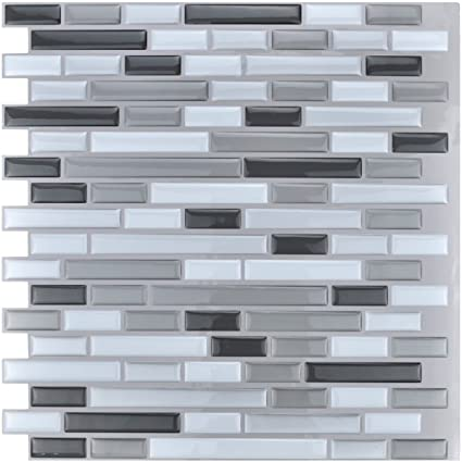 Art3d 12u0026quot; X 12u0026quot; Peel And Stick Tile Kitchen Backsplash Sticker  Gray Brick (
