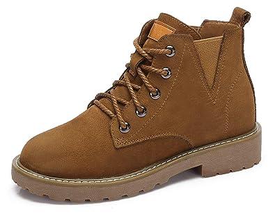 CAMEL CROWN Stiefeletten Damen Ankle Stiefel Leder Klassischer  Schnürhalbschuhe Booties Warm Rutschfest Schwarz Khaki EU36- 201e36b082