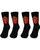 Manchester United FC Official Football Gift 2 Pair Pack Kids Boys Socks