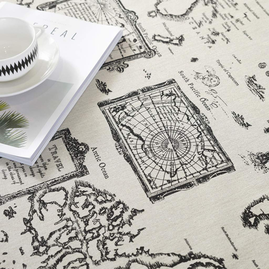 Vintage World Map Dining Coffee Table Cotton Linen Cloth Cover Tablecloth Sheets Tabletop Decor Home Kitchen