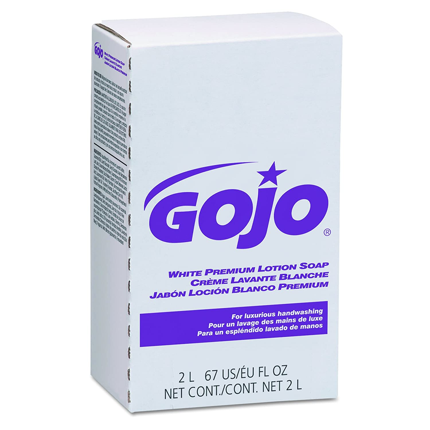 GOJO White Premium Lotion Soap, Spring Rain Fragrance, EcoLogo Certified, 2000 mL Lotion Hand Soap Refill for GOJO NXT Push-Style Dispenser (Pack of 4) - 2204-04