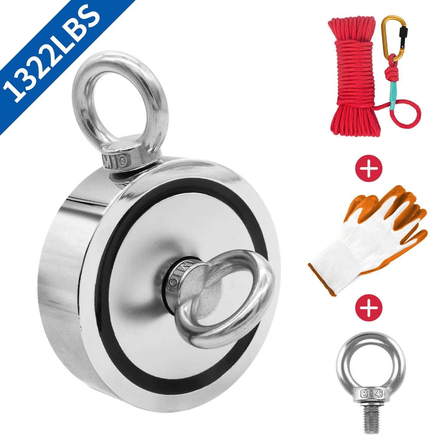 Fishing Magnet Double Sided, 3.7'' Diameter, 1322lbs Pulling Force Strong Round Neodymium Rare Earth Magnet with Eyebolt, Heavy Duty Rope & Non-Slip Gloves for Magnetic Fishing, River, Salvage by KYGNE