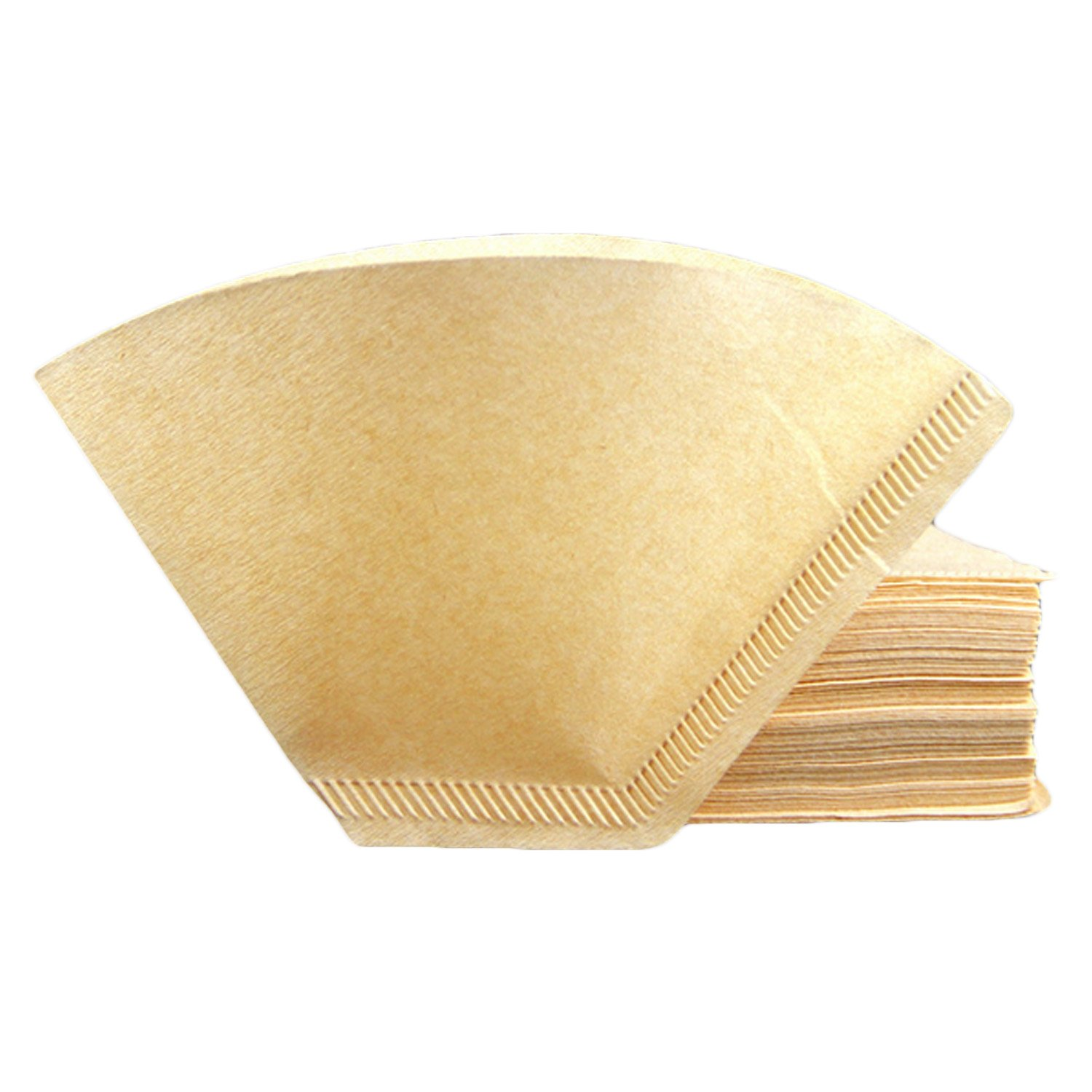 100PCS 102 Non-Bleach Fan Shape Originals Wood Drip Coffee Filter Paper for 2-4 Cup Electric Coffeemakers Office Home Outdoor Migavan