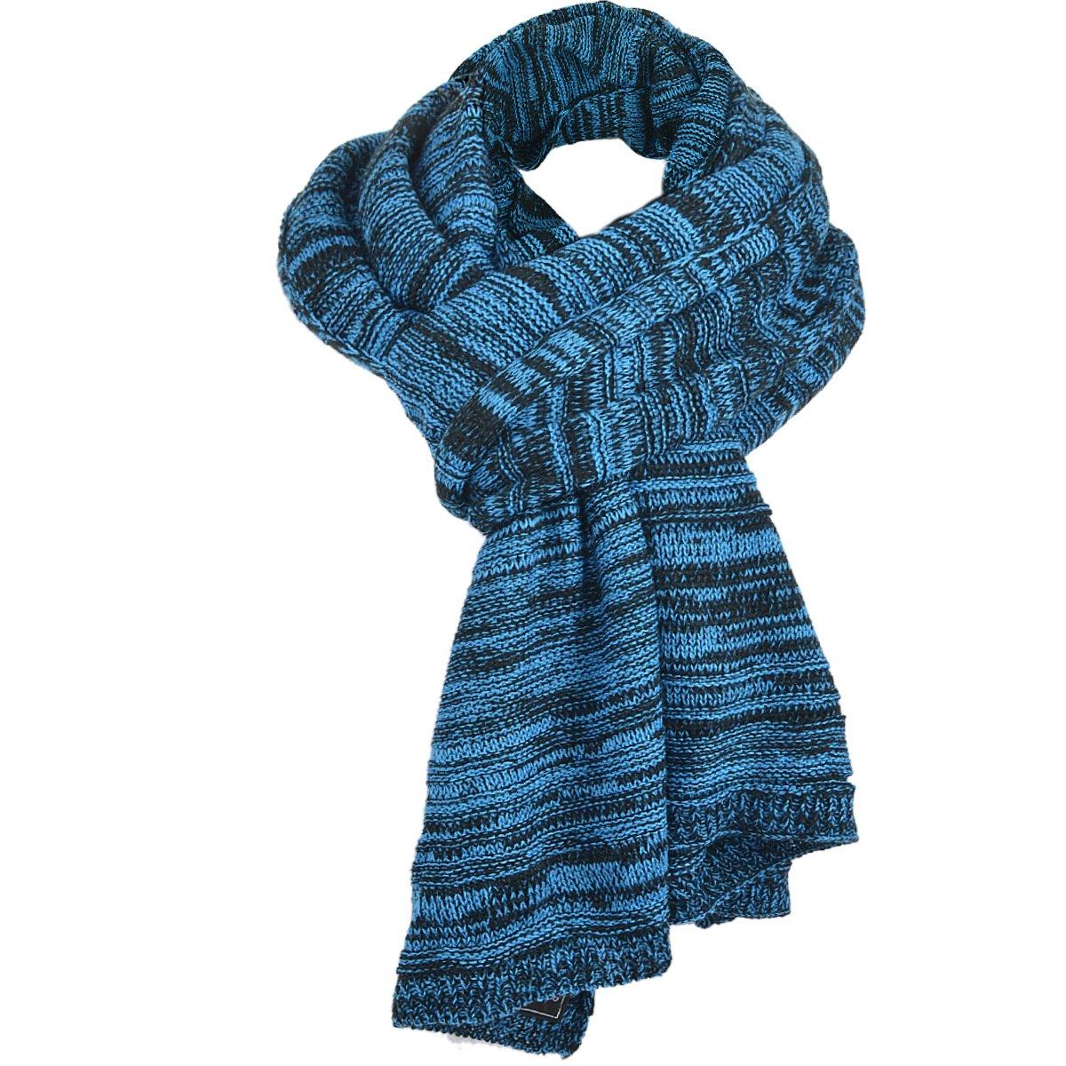 Classic Men Women Two-tone Knit Winter Scarf Oversize E5001 (Bright Blue with Black)