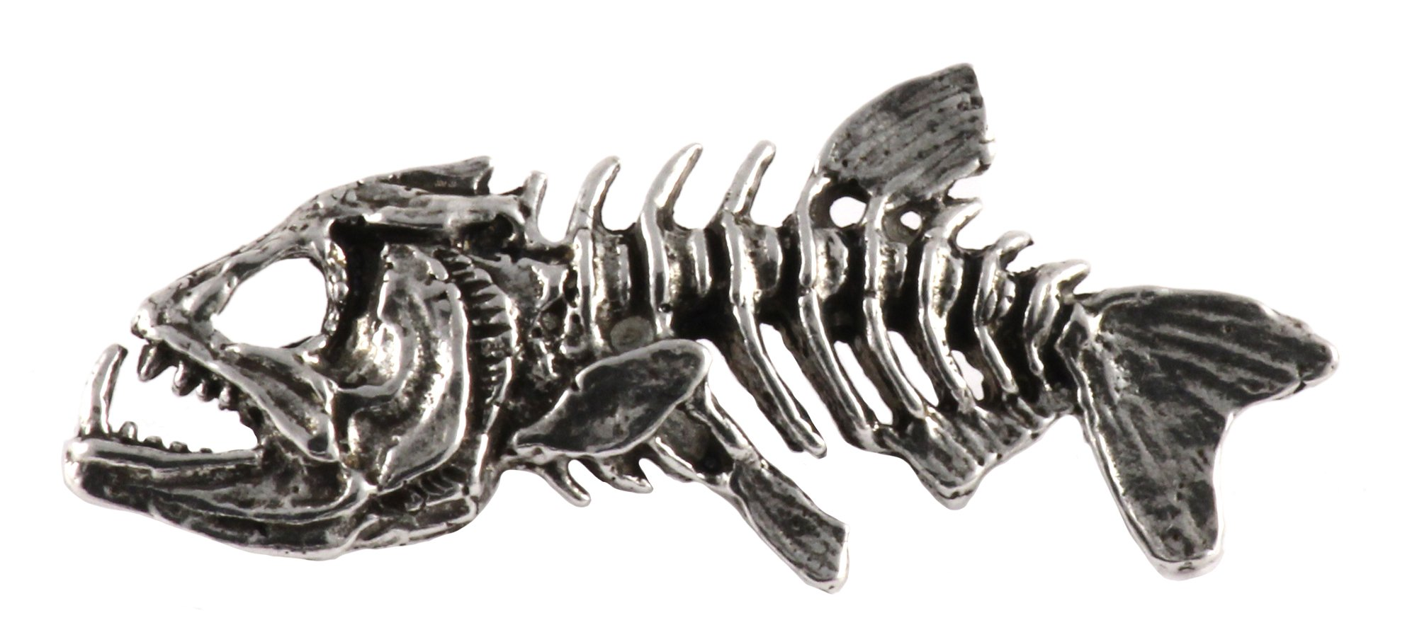 Creative Pewter Designs Pewter Skeleton Fish, Handcrafted Freshwater Fish Lapel Pin Brooch, Antique Finish, F112