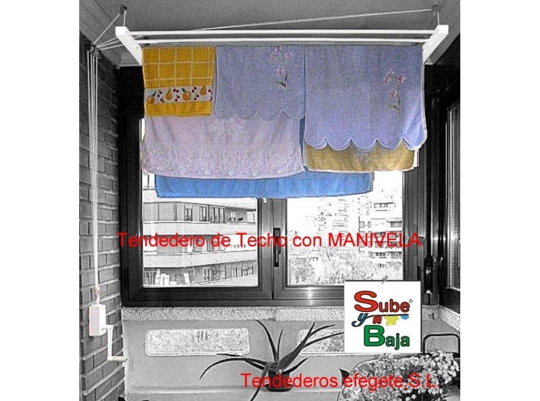 Tendedero techo manivela 160cm ac bl sube-baja efegete Tendederos Efegete Tenmv160