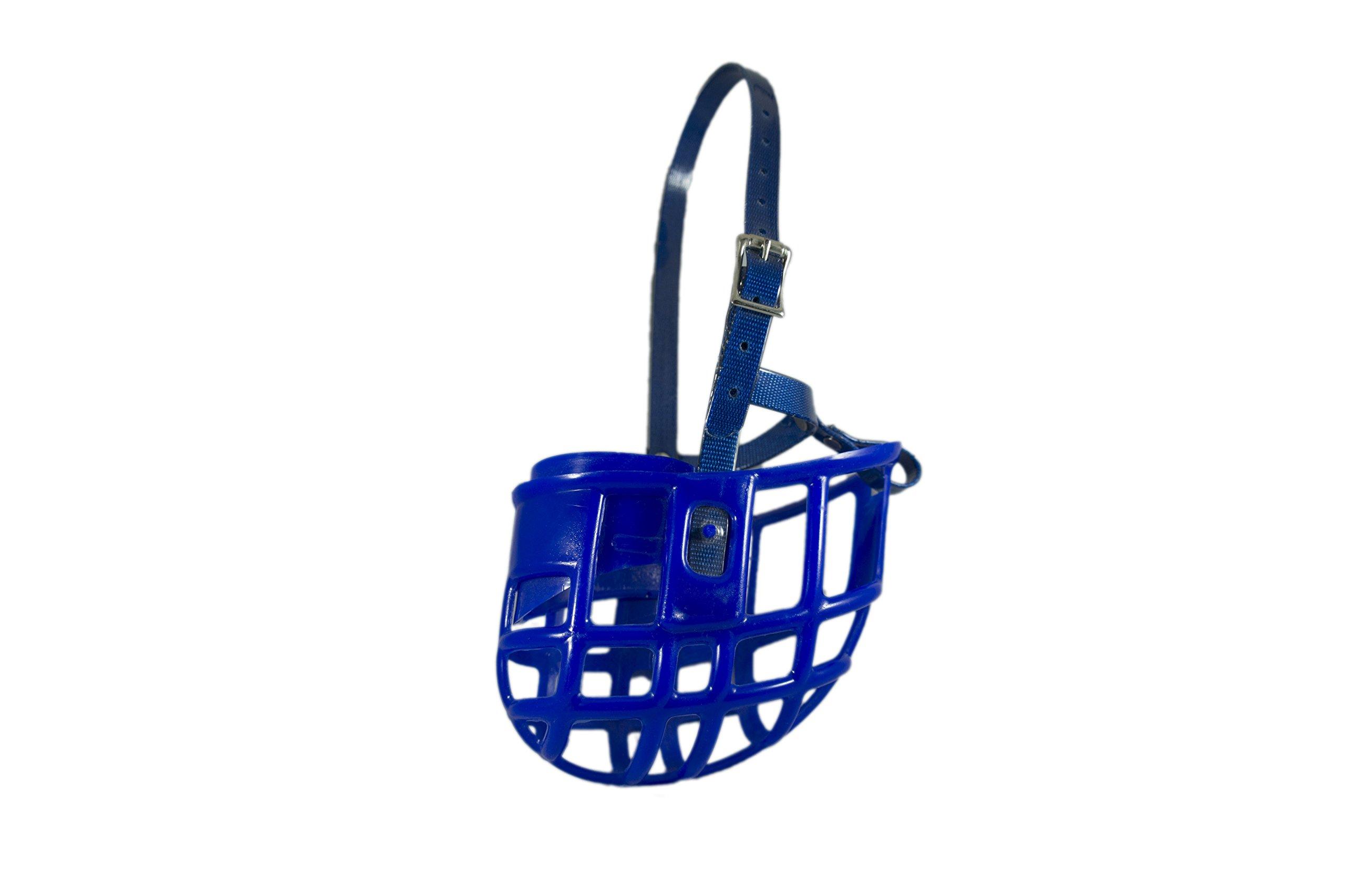 Birdwell Enterprises - Plastic Dog Muzzle with adjustable plastic coated Nylon headstall - Made in the USA - (Large, Blue)