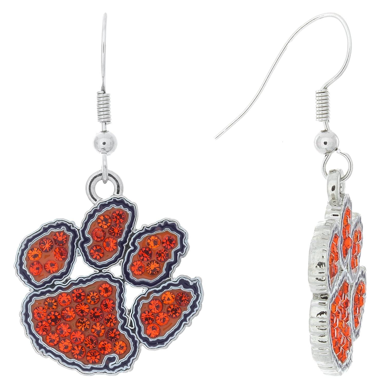 NCAA Clemson Tigers Womens Paw Logo Fish Hook Earrings orange Crystal, One Size