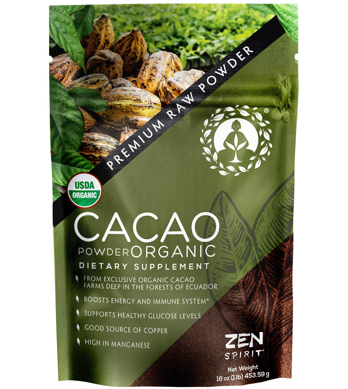 Cacao Powder Organic - 1 Pound - Unsweetened Premium Grade Superfood (Raw) - USDA & Vegan Certified - Perfect for Keto, Breakfast, Hot Chocolate, Baking & Ice Cream.