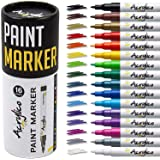 Paint Pens for Rock Painting, Stone, Ceramic, Glass, Wood. Set of 16 Colors Extra Fine Tip Point Acrylic Paint Markers