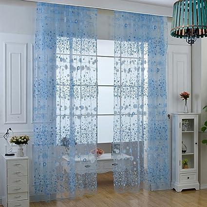 Blumen Tüll Voile Türvorhang Transparent Wohnzimmer Deko Schal Gardinen Vorhang