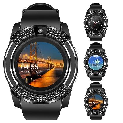 Relógio Smartwatch V8 Celular Inteligente Bluetooth Gear Chip Android iOS  Touch Faz e atende ligações SMS Notificações Pedômetro Câmera (PRETO)
