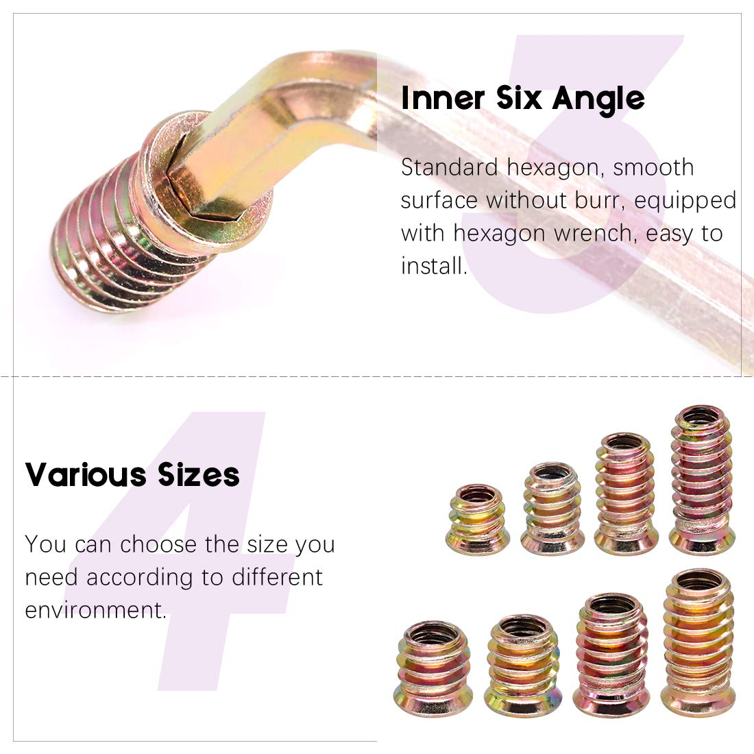 Swpeet 122Pcs Carbon Steel Color Zinc Plated Carbon Furniture Screw in Nut Threaded Wood Inserts Bolt Fastener Connector Hex Socket 1//4 + 5//16, Assortment Kit